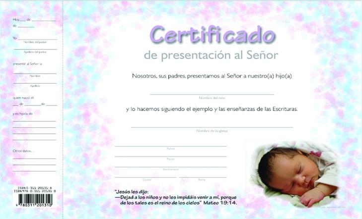 Certificado de presentación de niños